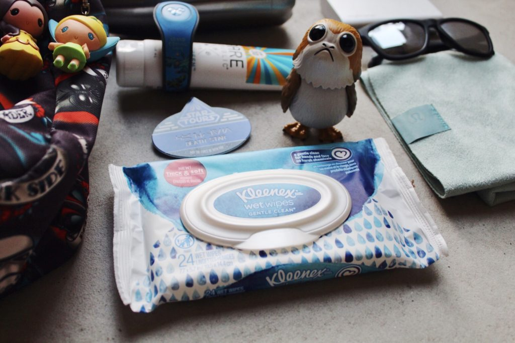 Packing for a day at Disney with Kleenex Wet Wipes